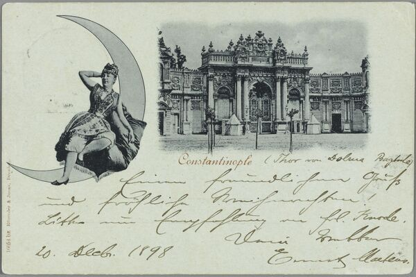 Imperial gates on the European side of the Bosphorus. A lady of the Harem sits astride the crescent moon of Turkey in an unusual addition to this fine card