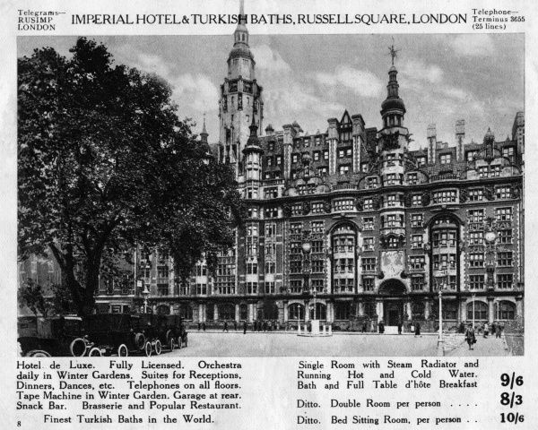 THE IMPERIAL HOTEL - Hotel De Luxe - Orchestra daily in Winter Gardens - Telephones on All Floora - Tape Machine - Snack Bar - Turkish Baths - Running Hot and Cold Water Date: 1920s
