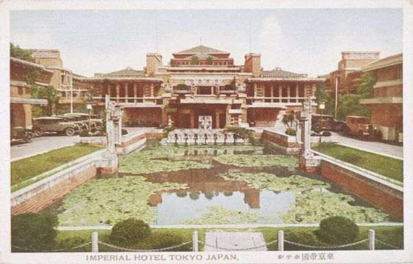 The IMPERIAL HOTEL, TOKYO : designed by Frank Lloyd Wright, built 1915-1922, survived 1923 earthquake, demolished 1967