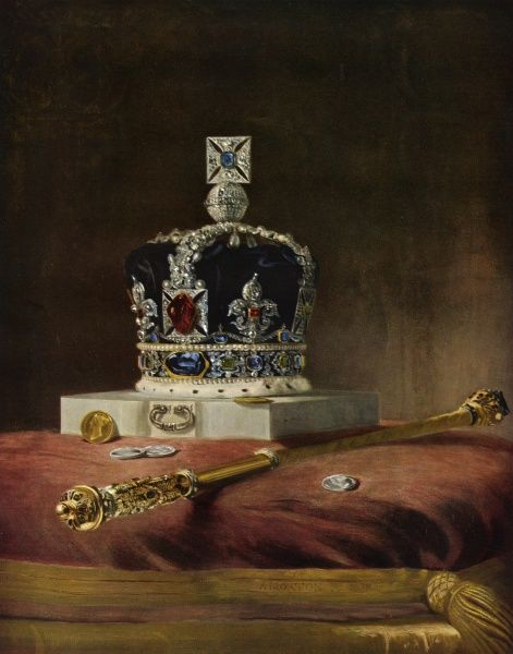 A painting showing the Imperial State Crown which was made for Queen Victoria's Coronation and was the only crown used in the ceremony. Date: 1838