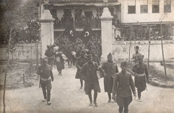 Greco-Turkish War - 1919-1922 - General Digenis being led away by Turkish soldiers following the capture after the Greek surrender to the Turkish Cavalry at Karaja Hisar on August 1922. This picture shows the General being led into the Ala Sehir