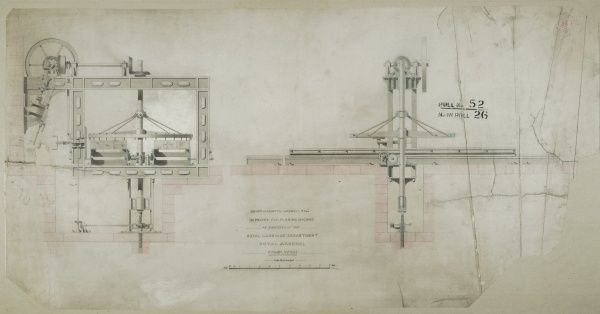 Improved fly-planing machine as employed at the Royal Carriage Department, front and side elevations Date