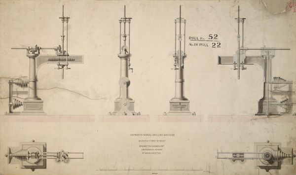 Improved radial drilling machine, plans, front, back and side elevations Date: 1848