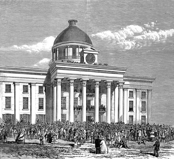 The scene out the courthouse of Richmond, Virginia, as Jefferson Davis was inaugurated as President of the Confederate States, 1861