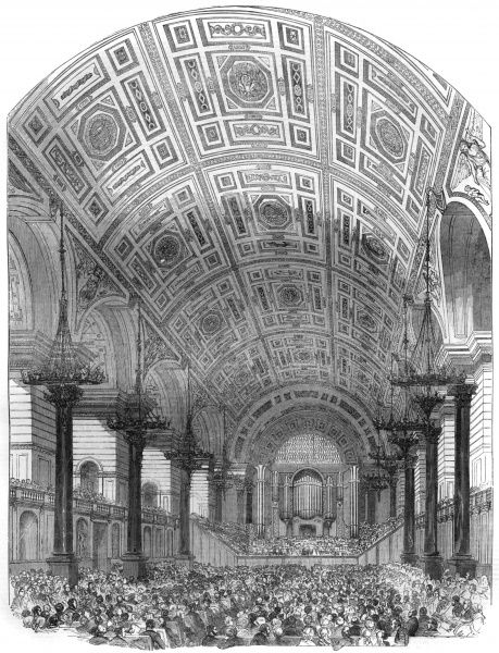 "The inauguration of St. George's Hall, Liverpool. Interior from the south, during the performance of the first oratorio. Building started in 1838, the building was described in the Illustrated London News as a ""magnificent edifice"