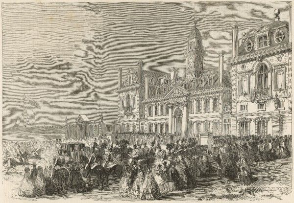 The arrival of Queen Victoria at Wellington College for the inauguration of the school in Feburary 1859. The school, situated about twelve miles south of Windsor, and was built in memory of the Duke of Wellington