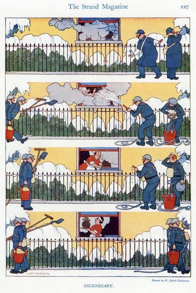 Sequential cartoon by Heath Robinson showing some rather over exuberant ARP wardens spraying a hose into the window of a house where they see smoke