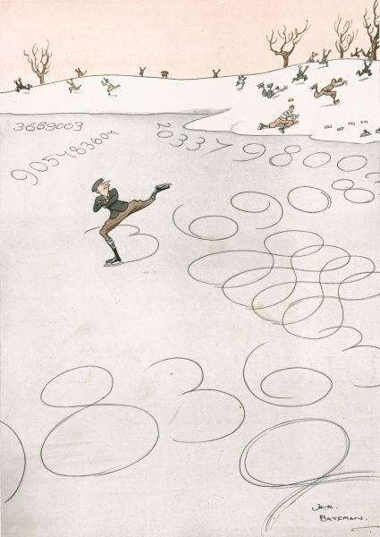 A humorous illustration showing an accountant carving numbers into the ice whilst skating