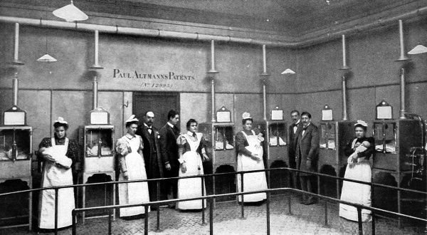Nurses attending to sick babies kept alive in a ward of incubators. The incubators pictured are from a design by Paul Altmann and distributed by Messrs Coney and Schenkhein. The machine was automatic with the temperature maintained by a thermostat