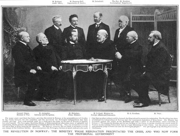 Following a disagreement with the king of Sweden, Norwegian ministers resign, and this leads to a declaration of independence : the ministers form a provisional government