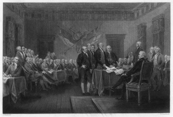 The signing of the Declaration of Independence in Philadelphia