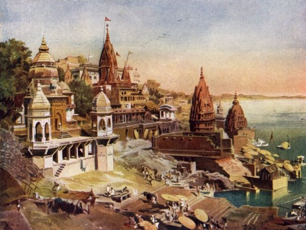 Tha sacred city of Hindus on the river Ganges Date