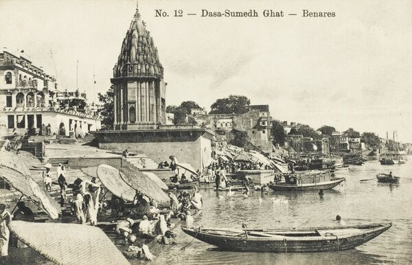 Benares, India - situated on left bank of the Ganga (Ganges) River. Regarded as holy by Hindus, Buddhists and Jains, and is one of the oldest continually inhabited cities in the world. The culture of Varanasi is closely associated with the River Ganges