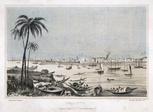 Calcutta: view of the harbour, with ships and boats