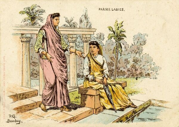 India - Parsi (Parsee) Ladies chatting on some steps close to a pool in Bombay
