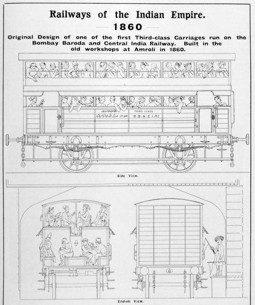 Rolling stock : a double- decker third class carriage on the Bombay, Baroda and Central Indian Railway