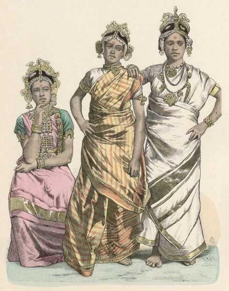 Actresses from Jaffna (Southern India). Date: circa 1880