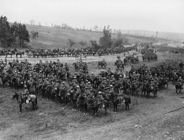 The Deccan Horse line up in ranks in the Carnoy Valley, waiting for the order to advance during the Battle of Bazentin Ridge, the beginning of the second phase of the Battle of the Somme. Later that day, the Deccan Horse, wielding their lances