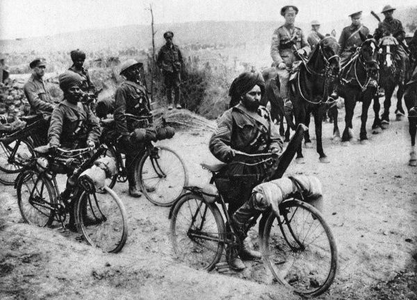 Cyclists from the Indian army pictured in France with their bicycles. Date: 2nd August 1916