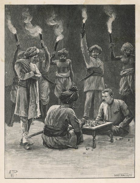 A European and a native Indian play a game of chess, while servants hold flambeaux to illumine the board : probably illustrating a work of fiction