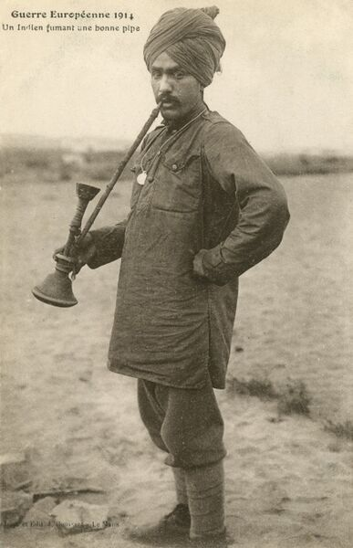 Indian (Commonwealth) soldier on the Western Front during World War One, with a very impressive pipe!