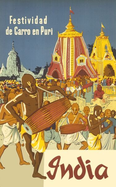 Festividad de Carro en Puri : Spanish poster advertising the Chariot Festival in Puri, India. The temple-shaped chariots can be seen in the background while Indian drummers dance in front