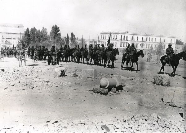 Indian Lancers in General Chauvel's ride through Damascus towards the end of the First World War. Date: October 1918