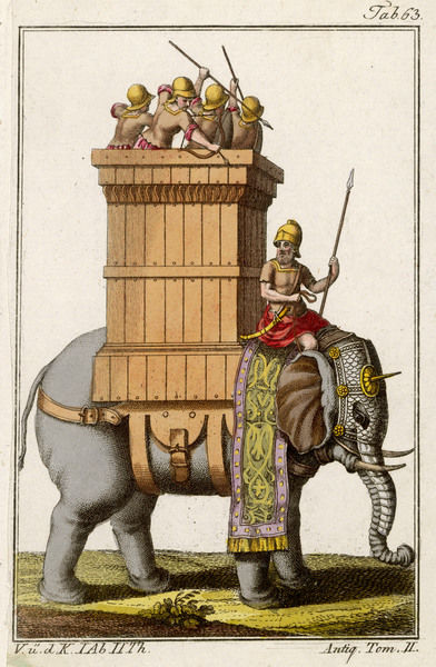 Elephant employed in war by Indians in ancient times : only his head and trunk are armoured, and he carries a howdah equivalent to a miniature fort