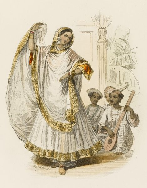 A nautch girl of Hindostan. (Nautch means simply dance) with accompanying musicians