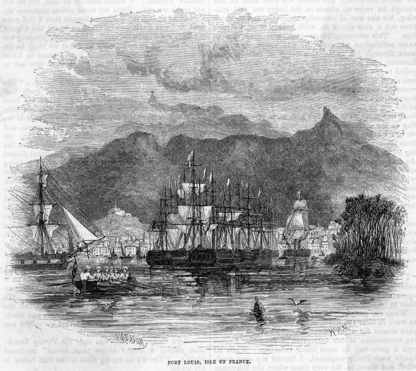 The harbour of Port Louis viewed from the sea : the island is at this time named Ile de France