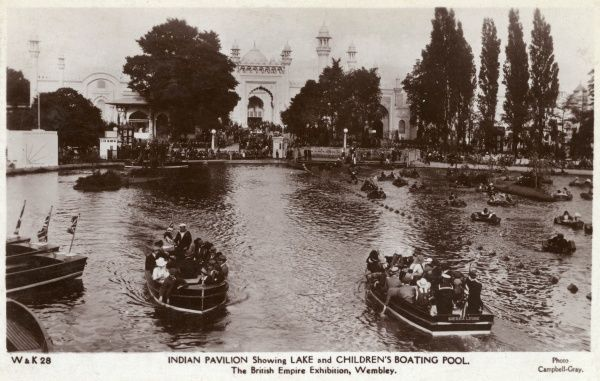 View of the Indian Pavilion, showing the lake and children's boating pool, at the British Empire Exhibition, held at Wembley between April and October 1924. Date: 1924