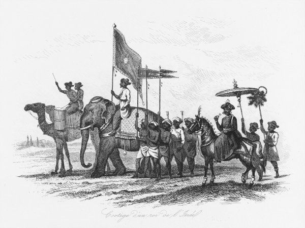 An Indian ruler and his cortege, travelling by camel, elephant and horse