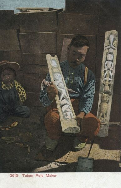Indian totem pole carver at work. Date: 1911