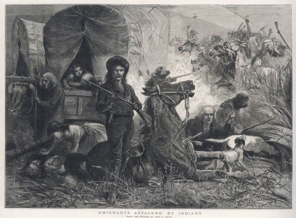 A convoy of emigrants attacked by Native Americans
