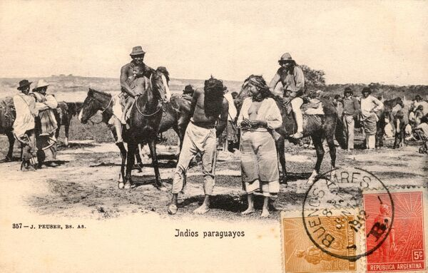 A group of Indigenous Indians from Paraguay with their horses Date: circa 1910s