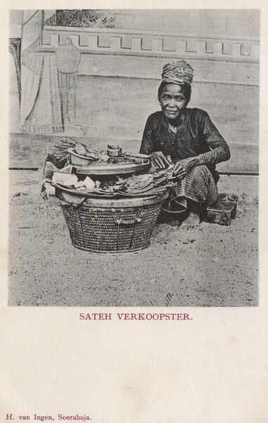 Indonesia, Java - Street Satay Vendor Date: circa 1910s