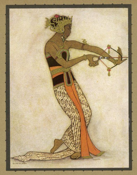 A Javanese dancer drawing a bow in a highly stylized movement. Much of the repertoire of this style has a story telling element