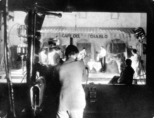 Televising a Spanish scene at the Crystal Palace, filmed on cine-film at the studios of the Baird Television Company