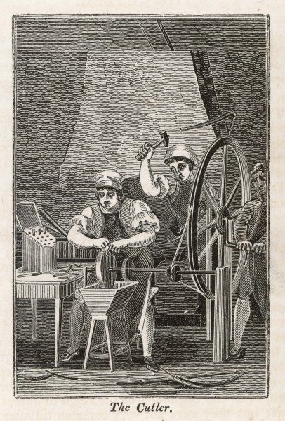 A cutler and his assistants sharpening knives at a grinding wheel