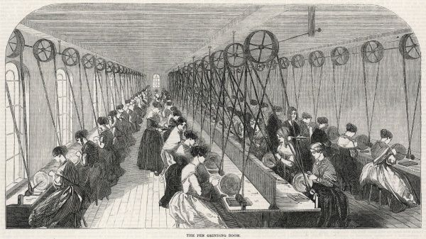 Women at work in the pen grinding room
