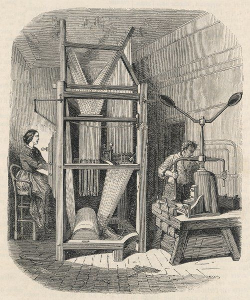 A tall French silk loom and hand press