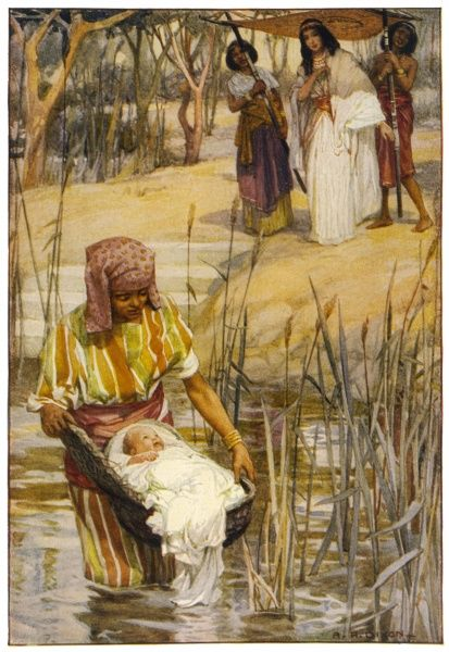The infant Moses is found by the Pharaoh's daughter, floating on the Nile