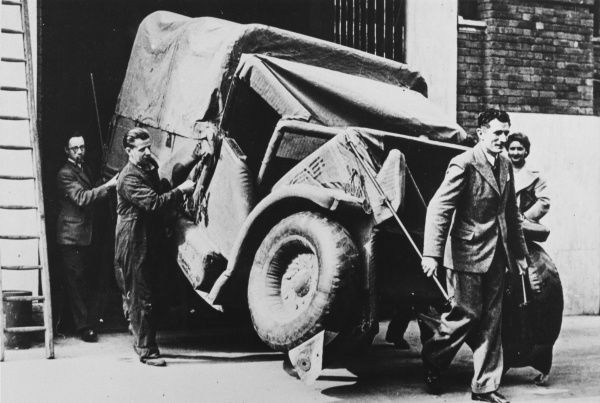 A Bedford MW inflatable decoy truck produced by Vauxhall during World War II