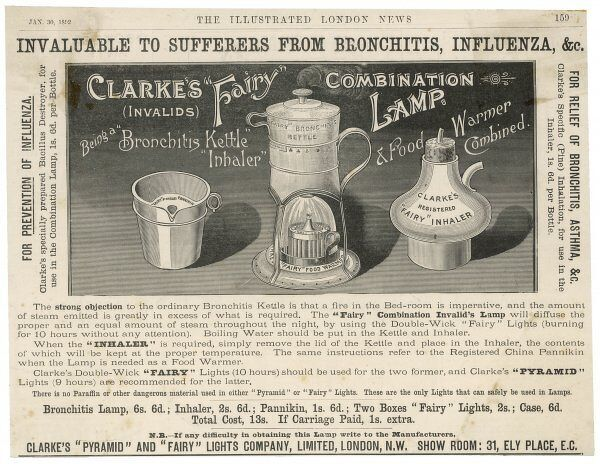 "Advertisement for Clarke's ""Fairy"" combination lamp, an aid to the treatment of influenza and bronchitis"