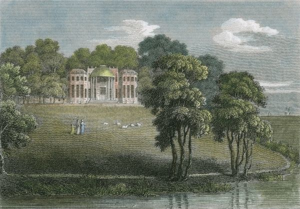 Ingress Park, Kent, the seat of William Havelock, who this year read in his newspaper about Bonaparte's ill-fated invasion of Russia while his daughter, Miss Helen Havelock, drew this picture. Date: 1812
