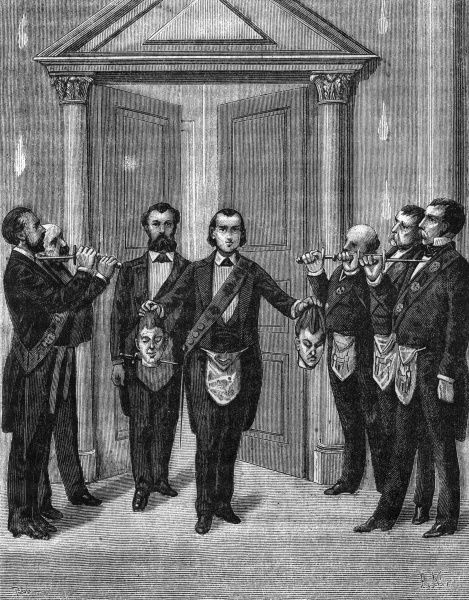 Ceremony for the illustrious elected fifteen. Entering into the grand chapel, the candidate holds two decapitated heads whilst the elected draw their daggers and salute. Date: 1890s