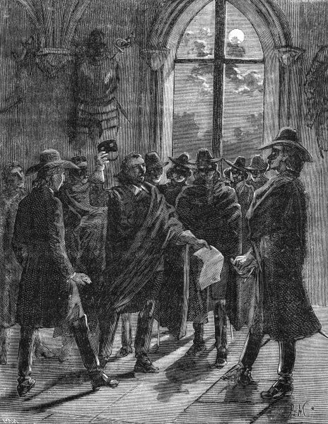 Bizarre initiation ceremony whereby a member of the assembled group lifts his mask and questions the recipient's validity. Date: 1890s