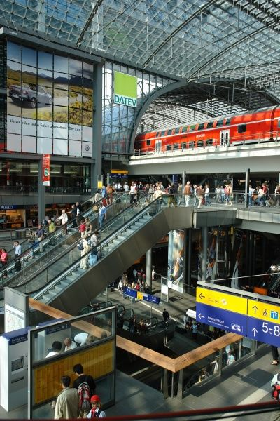 View inside the new Central Railway Station, Berlin, Germany