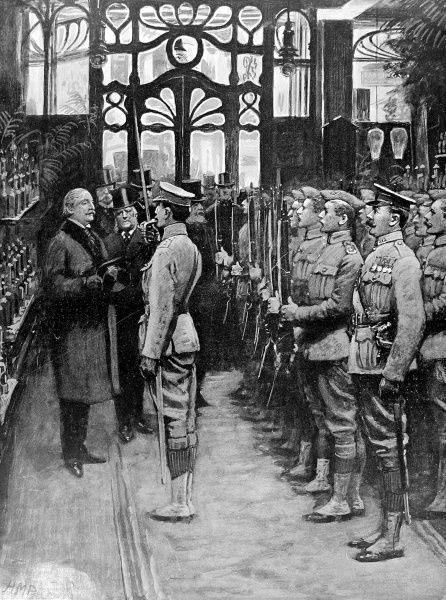 Illustration showing the inspection of a unit of the Territorial Army, raised from store employees, in Harrods department store, London, 1909
