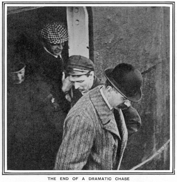 'The End of a Dramatic Chase.' Inspector Walter Dew leaving the ocean liner SS Laurentic and about to embark on the pilot steamer that took him to the SS Montrose, the ship on which Dr Crippen and Ethel Le Neve were sailing from Antwerp to Quebec